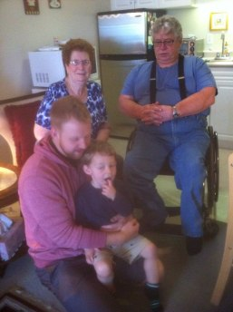 Four generations, my mother, me, my son (also a dad) and my grandson