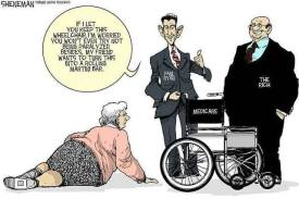 Cartoon of lady laying on ground with two political figures withholding her wheelchair