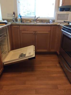 Kitchen with dishwasher door open