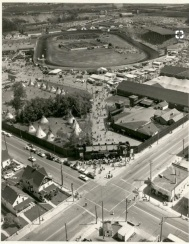 Black and white arial picture of the 1956 Calgary Stampede grounds