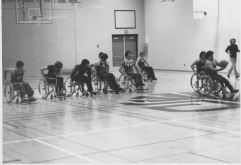 A fast break away during the 1967 first Canadian Wheelchair Games held at Loyola College, Montreal