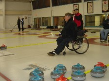 Picture of wheelchair curling after having released my rock