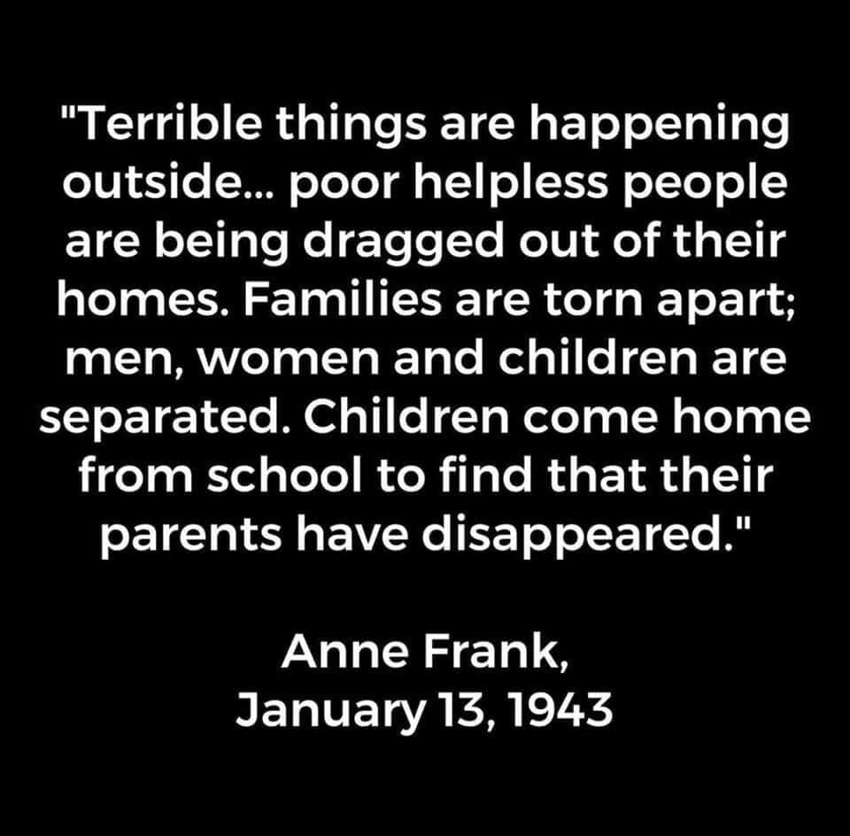 "Plain text box reading ""Terrible things are happening outside...poor helpless people are being dragged out of their homes.  Families are torn apart; men, women and children are separated.  Children come home from school to find their parents have disappeared"" Quote by Anne Frank, January 13, 1943."" Captioned by me ""Don't let your silence allow this to happen again"""