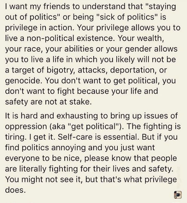 "A blank poster with the words ""I want my friends to understand that ""staying out of politics"" or being ""sick of politics"" is privilege in action.  Your wealth, your race, your abilities or gender allows you a life in which you likely will not be a target of bigotry, attacks, deportation or genocide.  You don't want to get political, you don't want to fight because your life and safety are not at stake.  It is hard and exhausting to bring up the issue of oppression (aka ""get political"").  The fighting is tiring.  I get that.  Self-care is essential.  But if you find politics annoying and you just want everybody to be nice, please know that people are literally fighting for their lives and safety.  You might not see it but that's what privileged does"".  I have caption this with ""If you are looking for ""cute kitty"" videos you are in the wrong room."